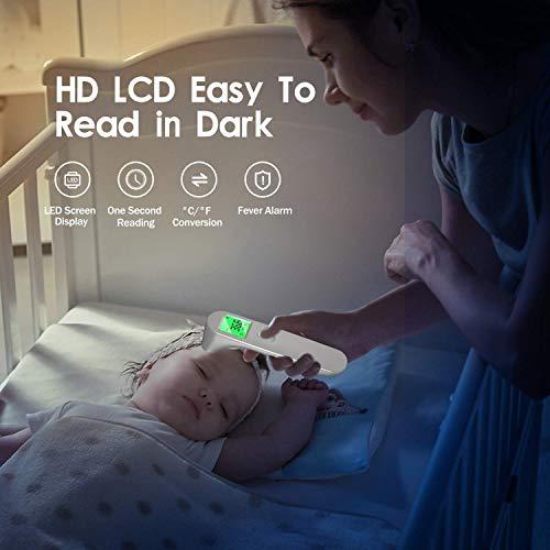 SOYES Termometro Frontale, Termometri a Infrarossi, Termometro Senza Contatto Frontale con Display a LED per Termometro Digitale per bambini e Adulti,Allarme Temperatura Elevata (bianca)