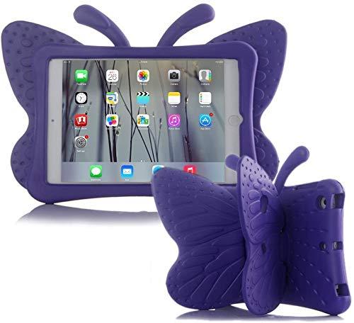iPad case for Kids, Feitenn 3D Cartoon Butterfly Non-Toxic EVA Light Weight Kid Proof Shockproof case with Kickstand for ipad 5/ ipad 6 /ipad pro 9.7/ New iPad 2017 case (Purple)