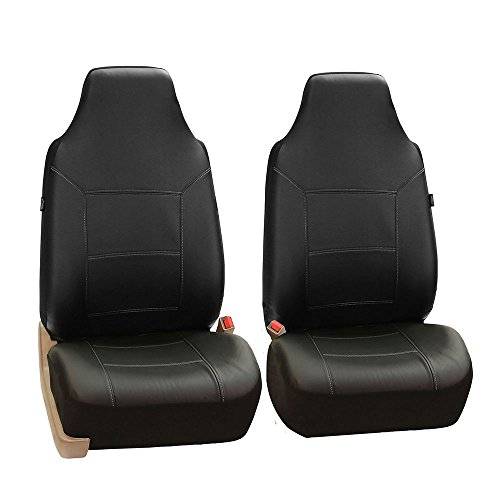 FH Group FH-PU103102 High Back Royal PU Leather Car Seat Covers Airbag & Split Black