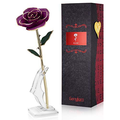 Gomyhom Rozencadeau voor vrouwen, opvallende cadeaus voor vrouwen/vriendin/moeder/oma, gouden 24 karaats roos met tekst Ich liebe Dich, cadeau voor Valentijnsdag, Moederdag, verjaardag, trouwdag, Kerstmis (Purper)