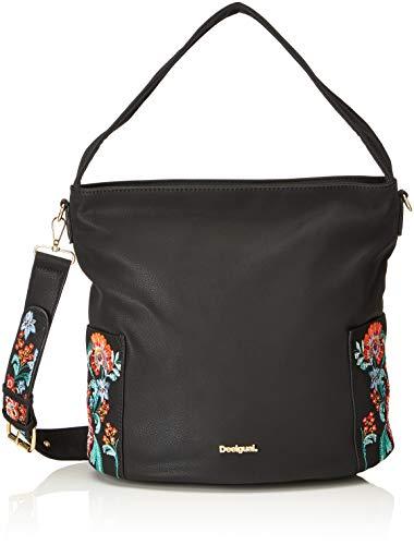 Desigual - Bols_odissey_yakarta, Shoppers y bolsos de hombro Mujer, Negro, 15x30x31 cm...