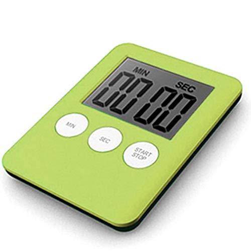 Temporizador digital de cocina con temporizador magnético, temporizador electrónico de cocina y cronómetro con gran pantalla LCD, temporizador de 24 horas con alarma acústica (verde)