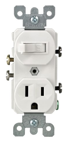 Leviton 109-05225-WSP Combo Switch and Receptacle, White