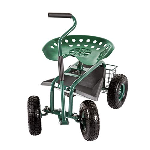 Garden Stool Cart Rolling Work Seat Outdoor...