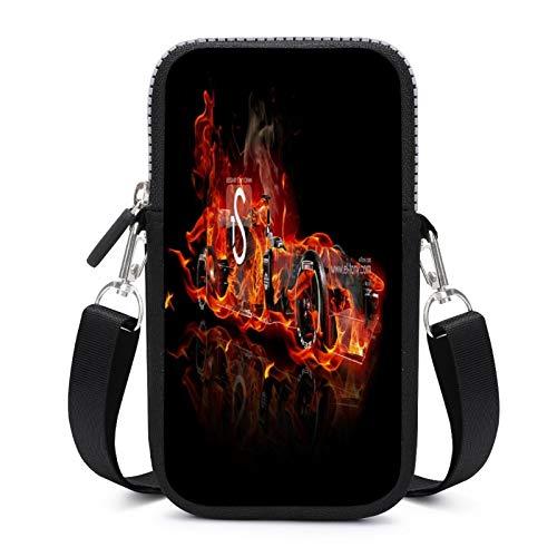 DKE&HXL Teléfono móvil PackageText rojo naranja fuente llama fuego gráficos calor neon6.9 * 3.9 * 0.8 pulgadas