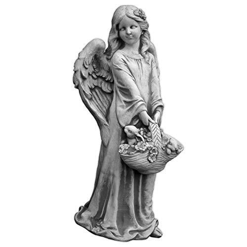 gartendekoparadies.de Liebevolle, sehr große Engel Figur mit Blumenkorb aus Steinguss, frostfest Grabdeko