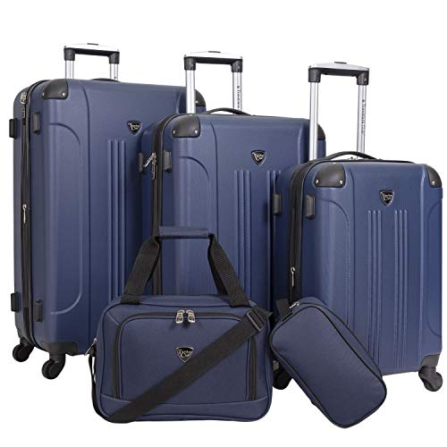 Travelers Club Sky+ Hardside Expandable Luggage Set with Spinner Wheels, Navy Blue