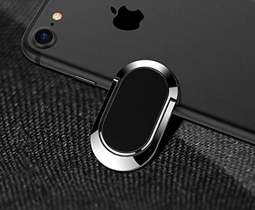 JIAMIN Phone holder Metal Paste Magnetic attraction Mobile phone stand Phone ring Ring buckle Phone back cover ring Rear cover bracket Phone holder (Color : Black)
