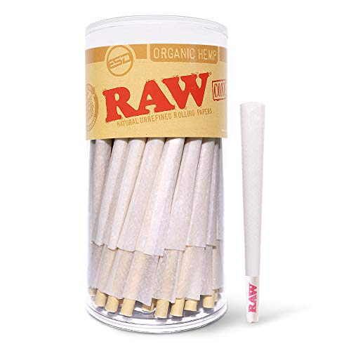 RAW Cones Organic King Size | 100 Pack | Pure Organic Pre Rolled Rolling Paper with Tips and Packing Sticks Included