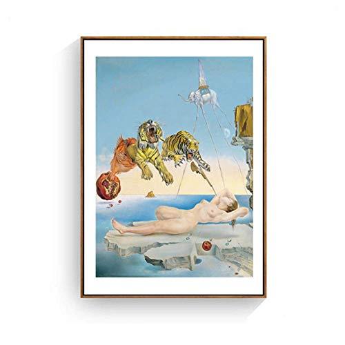A&D Salvador Dali Tiger, Elefant, Mädchen Leinwand Malerei Surrealismus abstrakte Kunst Wandbilder Druck für Wohnzimmer Unframe-50x70cmx1pcs-kein Rahmen