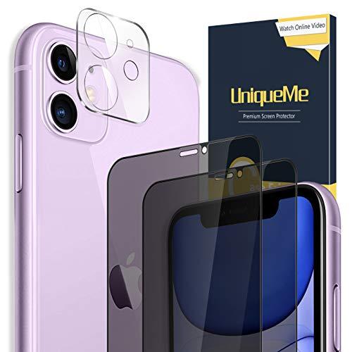 UniqueMe [2 Stück] Privatsphäre Schutzfolie + [1 Stück] Panzerglas Kamera Linse Schutzfolie für iPhone 11 6.1 Inch, [Anti Voyeur] 9H Hartglas Kameraschutz Displayschutzfolie Anti-Öl Anti-Kratzer