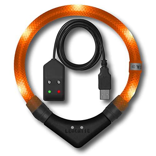 LEUCHTIE® Leuchthalsband Pro Easy Charge Sunset orange Größe 42,5 I LED Halsband für Hunde I USB aufladbar I wasserdicht I extrem hell
