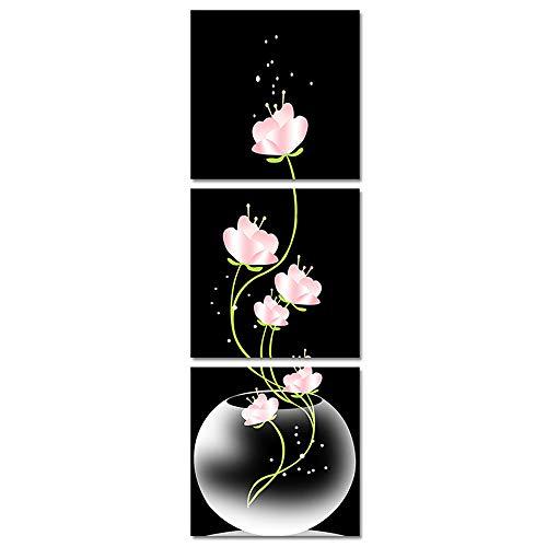 Arte de la Pared de la Lona, 3 Cuadro de la Pared de la Pintura al óleo de la Flor del Arte Moderno Cuadro de la Flor de la Lona del Loto Durable Cuadros Modernos