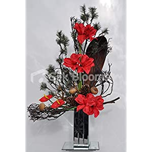 Silk Blooms Ltd Artificial Fresh Touch Red Amaryllis Floral Arrangement w/Green Spruce and Pinecones