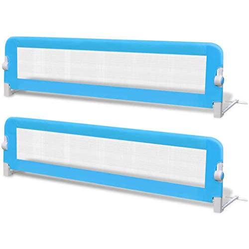 vidaXL 2x Barras de Seguridad para Cama Niño Azul 150x42 cm Barrera Infantil