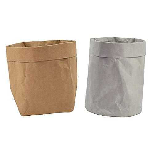 non-brand Sharplace 2pcs Sacs en Papier Kraft Pots de Fleurs Sacs étanches Organisateur de Panier