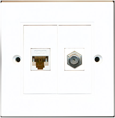 RiteAV - 1 Port Coax Cable TV- F-Type 1 Port Cat6 Ethernet White Wall Plate
