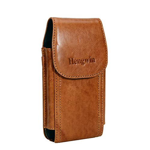 Hengwin Genuine Leather Samsung Note 20 Ultra Holster, Cell Phone Carrying Pouch Holder Belt Clip Case for Samsung S20 Ultra 5G S9 Plus S8 Note 10 9 8 5 4 (Fit Phone with Case on) (Brown)