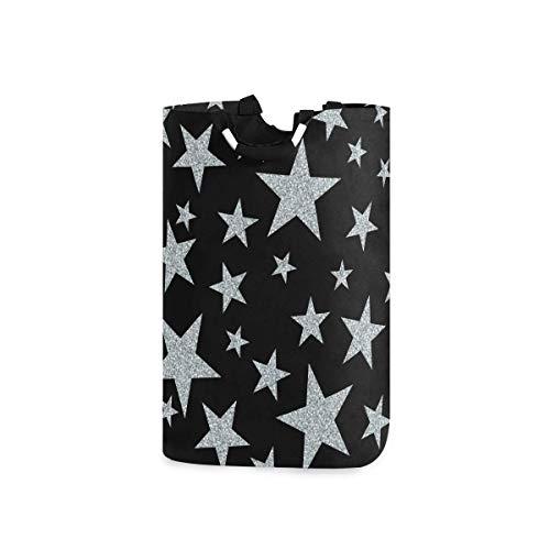 Hdadwy Cestas de lavandería, patrón sin Costuras, Estrellas Plateadas sobre Negro, Cesta de lavandería Plegable con Asas, Adecuada para dormitorios, lavandería, baño