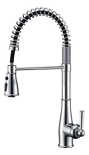 Industrial Kitchen Sink Faucet with Pull Down Sprayer and Deck Plate, 3 Mode Fits for 1 or 3 Hole Installation, Chrome Finish by Purelux