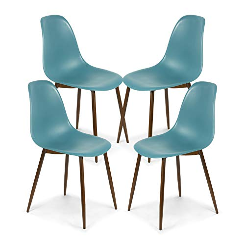 Poly and Bark Landon Contemporary Kitchen Dining Sculpted Mid-Century Side Chair, Mod Teal (Set of 4)