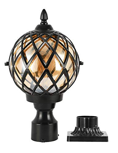EREBJENH Designer Outdoor Post Light Fixture with 3-Inch Pier Mount IP65 Waterproof E26 Bulb Base Clear Glass Shade Exterior Post Lighting,1-Light House Exterior Pillar Pole Lantern,Black