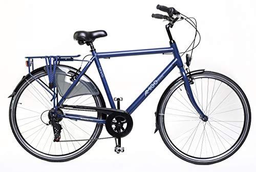 Amigo Moves - Bici da città per uomo 28 pollici - Cambio Shimano a 6 velocità - Citybike con freno a mano, Campanello per Bicicletta, Cavalletti per bicicletta e Luci per Bicicletta - Blu