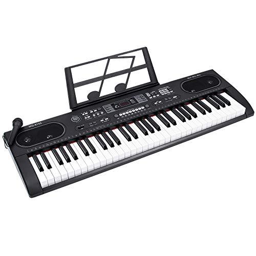 電子キーボード61鍵盤 200種類音色 200種類リズム LCDディスプレイ搭載 日本語表記 子供 初心者 練習用 日本語取扱説明書付き ブラック(譜面立て USBケーブル付き)