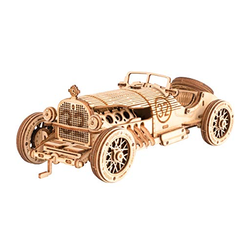 RoWood 3D Wooden Puzzle for Adults & Teens, DIY Scale Mechanical Car Model Building Kits, Best Toys Gift for Kids - Grand Prix Car