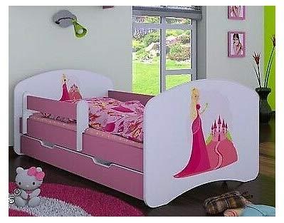 HB Kinderbett mit Matratze und Bettkasten verschiedene Varianten Mädchen ROSA (160x80 cm, Prinzessin mit Schloß)