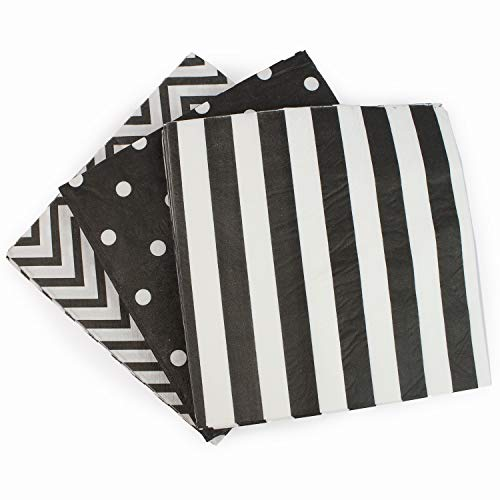 "Anyneo Disposable 3-ply Party Napkins, Striped Chevron Polka Dot paper beverage napkins for Birthday, Christmas or Anniversary Celebration, Cocktail Beverage Napkins 60-Count,13"" x 13"" Black"