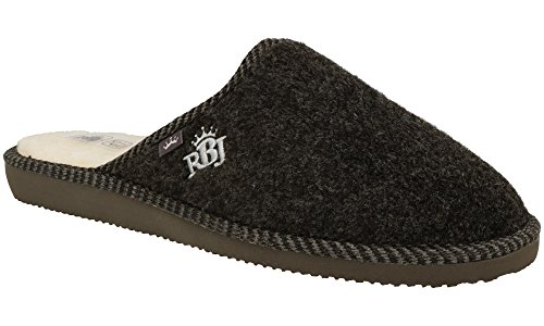 Zapatillas De Casa para Hombre De Fieltro De Lana Natural Calientes Transpirables Bienestar Natural Handmade Calidad (44 EU, Negro 904)