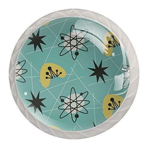 Schubladenknöpfe im Stil der 50er Jahre, Atomic, Vintage, für Küchenschränke, 3,5 cm, 4 Stück