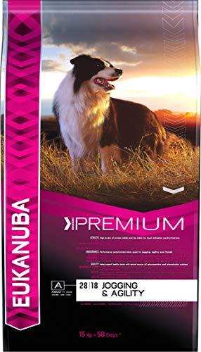 Eukanuba Jogging & Agility, Hundefutter für Hunde mit erhöhtem Energiebedarf, Trockenfutter mit Huhn (1 x 15 kg)