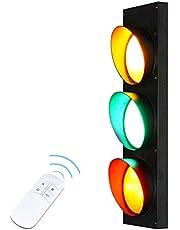 Led-verkeerslicht, wandlamp, restaurant, kinderkamer, instelbare afstandsbediening, muurlamp, muurstaal, effectlamp, rood/groen/geel, bar, café, wandverlichting, verkeersborden, borden, van ijzer en glas