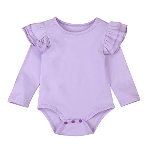 Minesiry Infant Baby Girl Basic Ruffle Long Sleeve Cotton Romper Bodysuit Tops Clothes (Purple, 0-3 Months)