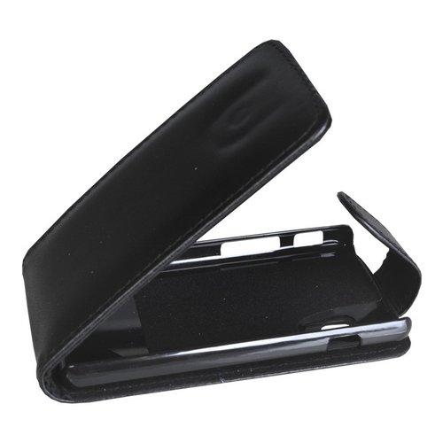 Mobilfunk Krause - Flip Hülle Etui Handytasche Tasche Hülle für LG E460 Optimus L5 II (Schwarz)