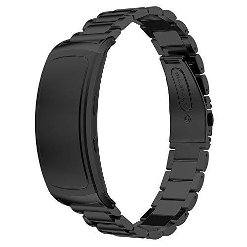 Pulseira Metal Aço 3 Elos para Samsung Gear Fit 2 - Samsung Gear Fit 2 Pro - Marca Ltimports (Preto)