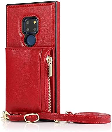 SLDiann Case for Huawei Mate 20, Zipper Wallet Case with Credit Card Holder/Crossbody Long Lanyard, Shockproof Leather TPU Case Cover for Huawei Mate 20 (Color : Red)