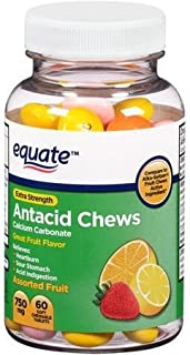 Equate Extra Strength Antacid Chews Assorted Fruit Soft Chewable Tablets, 750mg, 60 Tablets