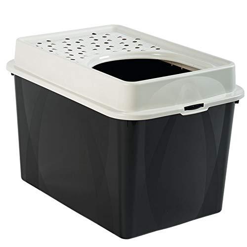 Katzentoilette Berty mit Top-Eingang – einfach zu reinigendes Katzenklo – aus Kunststoff(Plastik (PP) – Größe (LxBxH) 55.5 x 40 x 38.7 cm – schwarz/weiss - 2