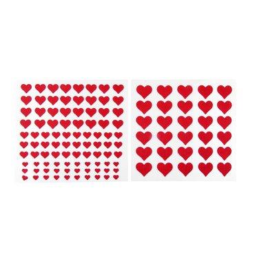122 Herzen-Aufkleber, Herzsticker in Rot, 4 verschiedene Größen, selbsthaftend