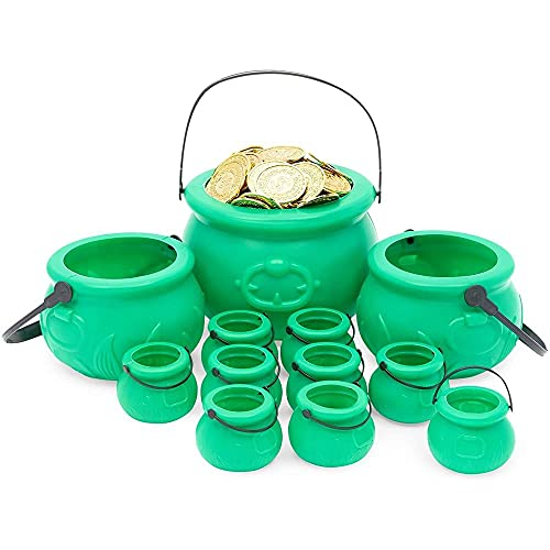 Cauldron Pot with Handle, St Patrick's Day Decorations (3 Sizes, Green, 12 Pack)
