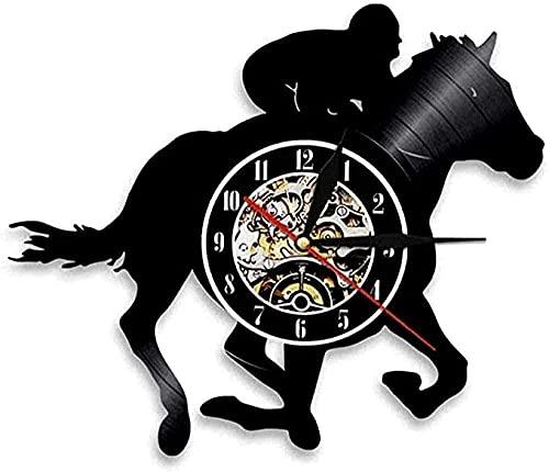 jjyyy Reloj de Pared de Vinilo música Caballero Caballo Regalo Animal señoras de los Hombres Reloj de Pared Disco de Vinilo Art Deco Reloj Retro Hecho a Mano
