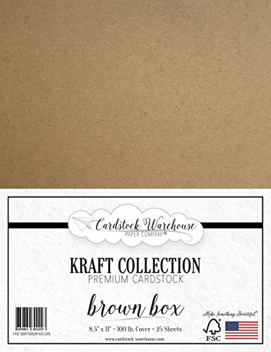 Brown Kraft 100% Recycled Cardstock - 8.5 X 11 inch - Premium 100 LB. Heavyweight Cover - 25 Sheets from Cardstock Warehouse