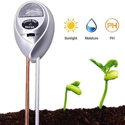 ZHANGXJ Ph Probadores de la Tierra 3-In-1 Sensor Medidor de Humedad Sunlight Ph del Suelo Kits para Muestreo de Suelo PH Tester para el Jardín Romote Plantas Crecimiento Saludable, Plata