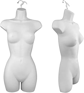 Set of (2) Female Dress Plastic Mannequin Body Forms, Great for Displaying Small and Medium Sizes, White