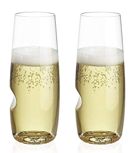 The govino Dishwasher Safe Champagne Flutes Flexible Shatterproof Recyclable, 8-ounce, Set of 4 (Champagne Set of 2)