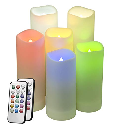 LED Multi Colored Flameless Candles,Salipt LED Flickering Candles Set of 6 (H 5' 6' 7' xD 2.2') Battery Operated Candles,Waterproof Flameless Candles, Resin Plastic, Indoor Outdoor Use for Gifts
