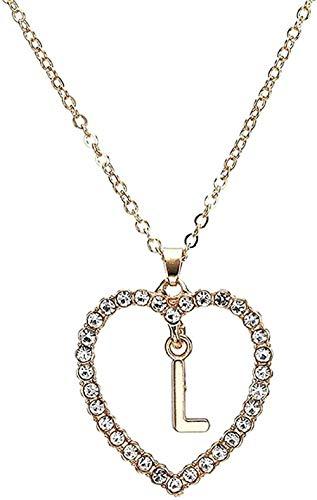huangxuanchen co.,ltd Collar Mujer S Forma de corazón Collar con Colgante de Letra Estilo de Verano Collar de Cadena de Cristal Adornos Regalo de Novia